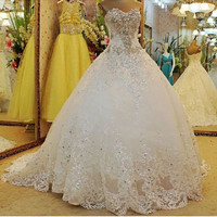 Wedding Dress Strapless Organza Crystal Long Train Lace-up White Custom Made