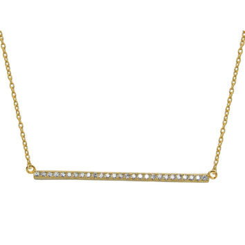 "Fine Sterling Silver Sideways Gold Bar Pendant Cubic Zirconia Stone Necklace, 16"" + 1"""