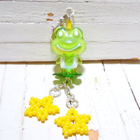 Zipper Pull / Charm Good Luck Frog and Beaded Stars, Cute Accessory
