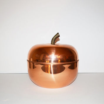 Vintage Ice Bucket Copper Apple Ice Bucket Barware Raymor Italy Style Mid Century Modern Copper Anodized Aluminum Apple Ice Bucket