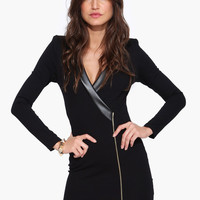 Black Long Sleeve Zipper-Slit Bodycon Dress