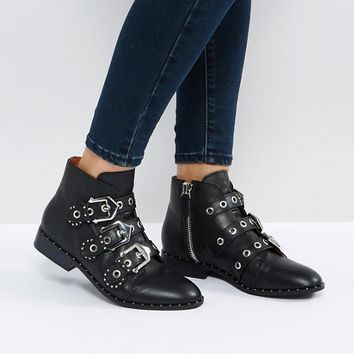 Sol Sana Maxwell Black Studded Flat Ankle Boots at asos.com