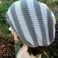 Handknitted Slouchy Beanie Hat Tam  Dreads Dark Grey Gray Light Grey Gray
