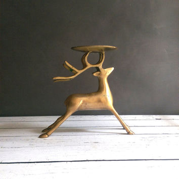 Brass Deer Candle/ Brass Deer/ Vintage Christmas Decor/ Christmas Candle Holder/ Brass Reindeer/ Mid Century Brass Deer