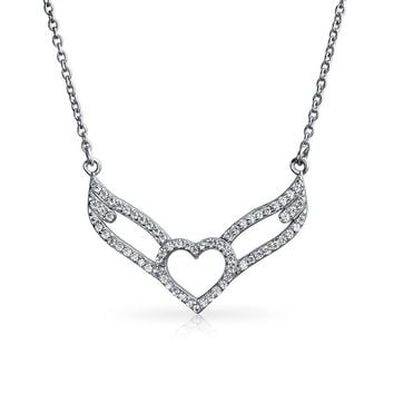 Guardian Angel Wing Heart Pave CZ Sterling Silver Pendant Necklace