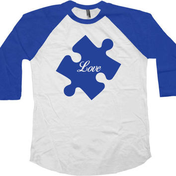 Autism Awareness Shirt Autism Speaks Support T Shirt Advocate Autism Spectrum Society Gifts Love Puzzle Piece Baseball Raglan Tee - SA766