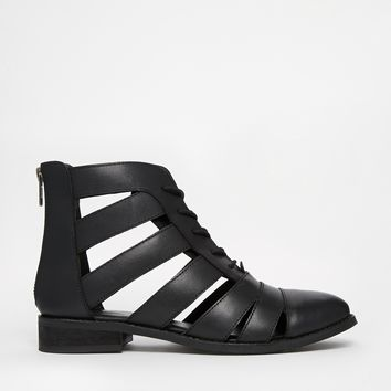 ASOS ALFA Cut Out Strappy Leather Lace Up Boots