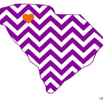 Chevron State Decal with Heart