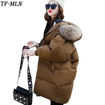 Fur Collar Winter Jacket Women Parka Cotton Warm Down Parkas Hooded Coat Woman Clothes Plus Size Abrigos Mujer Invierno 2017