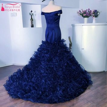 Navy Blue Sweetheart Off The Shoulder Short Sleeves Prom Dresses Chapel Train Tiered Satin Organza Orignal Formal Evening Gowns