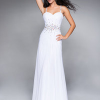 White Pleated Chiffon Rhinestone Sweetheart Prom Dress - Unique Vintage - Cocktail, Pinup, Holiday & Prom Dresses.