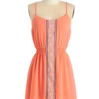 ModCloth Boho Mid-length Spaghetti Straps A-line Fest Friends Forever Dress