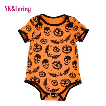 Short Sleeve Baby Romper Halloween Girls & Boy Clothes Skull Cartoon Print Infant Jumpsuit Cotton Newborn Clothing 2017 R130S