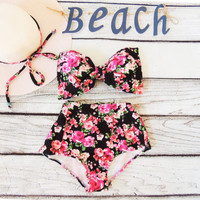 High Waisted Vintage Bow Bikini in Vintage pink black floral roses Bandeau top Cute Sexy Swimwear Retro Swimming Costume flower Bathing suit