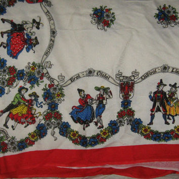 Lovely  vintage German Vintage Folk Art viskose-rayon printed  tablecloth