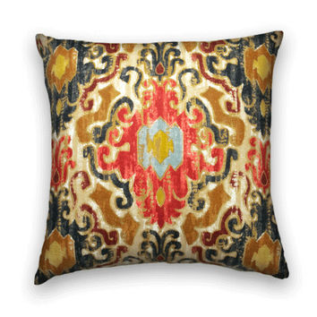 Duralee Ikat Pillow Cover--20 x 20-Contemporary Accent Pillow--  Red, Blue, Brown, Yellow.