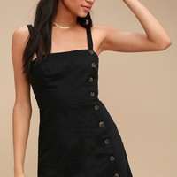 Louetta Black Button-Down Mini Dress