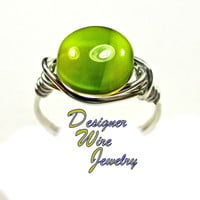 DWJ0372 Lovely Czech Glass Margarita Coin Silver Wire Wrap Ring All Sizes