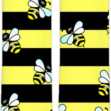 Wasp stripes knee high socks v2, thick stripes themed accessory, yellow, black lines