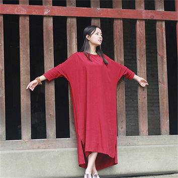 Johnature Women Maxi Dress Loose O-Neck Nine Sleeve Red Black Robes 2017 Autumn New Vintage Solid Colour Casual Style Dress