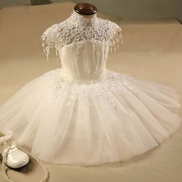 Ivory Lace Flower Girl Dress First Communion High Neck Puffy Tulle Floor Length Kids Ball Gowns Toddler Pageant Dresses