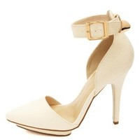 Textured Ankle Strap & Pointy Toe Heels by Charlotte Russe - Stone