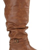 Tall Covered Wedge Boot with Ruched Shaft and Cuff