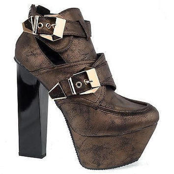 Monte17a Bronze By Qupid, Women Chunky High Heel Buckle Cut Out Platform Ankle Bootie