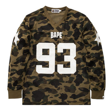 BAPE 1ST CAMO MESH FOOTBALL L/S TEE | Undefeated