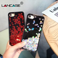 LANCASE Hearts Case for iPhone 8 Case Bling Glitter Quicksand Iridescent PC Hard Confett Back Cover for iPhone 8 Plus Case Coque