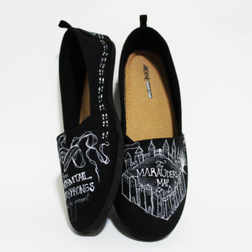 Black Off-Brand Toms Style Marauder's Map Harry Potter Shoes