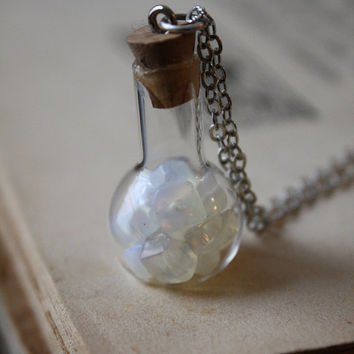 ON SALE White Opal Vial Necklace