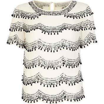 Cream scallop embellished top - t-shirts - tops - women