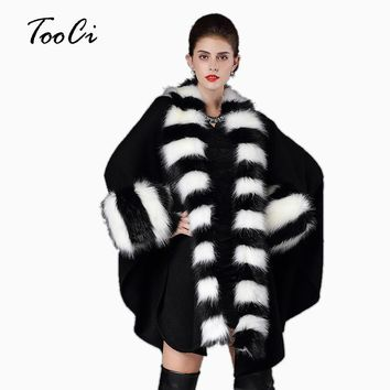 Autumn winter fashion warm  2 colors women loose poncho causal cloak long knitted cardigan fake fox fur collar shawl coats