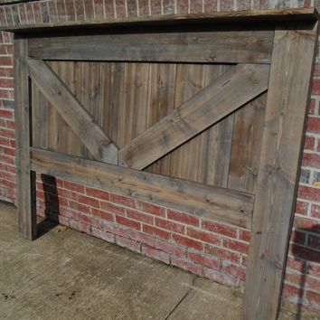 Rustic King Headboard, Queen Headboard in vintage designed Barn Door Style from Solid Knotty Pine in 5 sizes and 8 Colours #4122