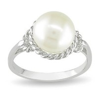 Sterling Silver 9-9.5mm Freshwater Cultured Pearl Ring, Size 8