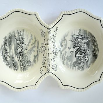 RARE Black Transferware Spode Copeland Herring Handled Double Double Sided Serving Basket Tray English Hunt Scenes