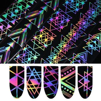 DCCKLO3 1 Roll Holographic Nail Foil Laser Geometric Triangle Heart Firework Wave Manicure Nail Art Transfer Sticker 4*100cm