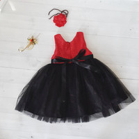Black and red Christmas dress for girl, baby dress, tutu dress, toddler dress, Christmas gift for girl