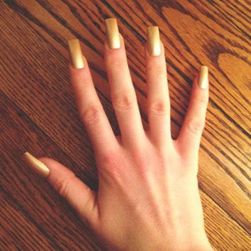 Champagne, gold press-on nails, fake nails, false nails, faux nails, acrylic nails, hand-painted nail set, rose gold