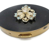 1950's Black Lucite Jeweled Metal Powder Compact