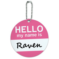 Raven Hello My Name Is Round ID Card Luggage Tag