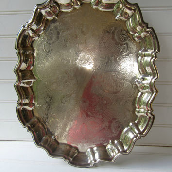 Vintage Footed Silverplate Tray English Leonard Silver Cottage Home Shabby Chic