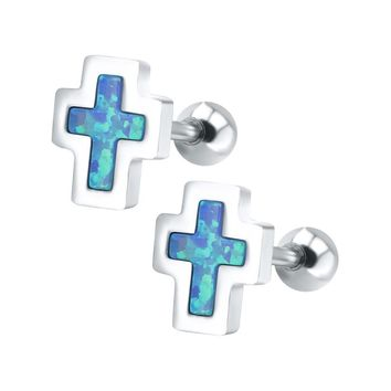 Opal Stones, Stainless Steel, Small cross shaped stud earring