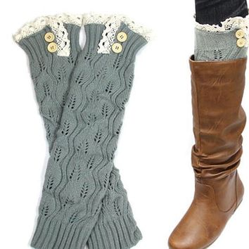 Vintage Crochet Button Leg Warmers