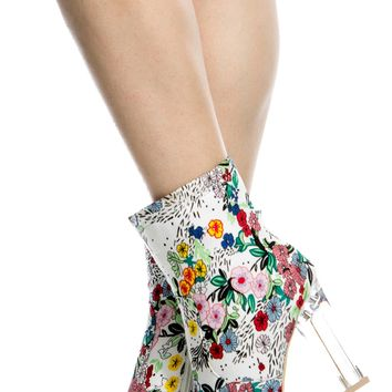 Floral Print Chunky Translucent Ankle Booties @ Cicihot. Booties spell style, so if you want to show what you're made of, pick up a pair. Have fun experimenting with all we have to offer!