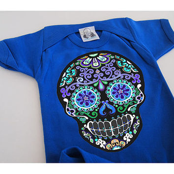 Baby Skull Shirt 3 6 9 12 18 months Day of the Dead Boys bodysuit Blue Hipster infant Rockabilly Retro Shower Gift Bones Nelson snap tshirt