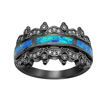 Women Crown Blue Opal Black RIng