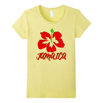Mi Love Jamaica Red Hibiscus Souvenir or Gift T-Shirt