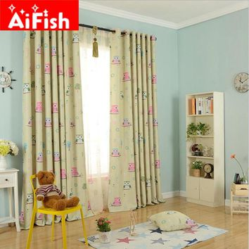 New Arriaval Boys & Girl's Window Bedroom Curtain Cartoon For Kids Child Living Room Cute Owl Pattern Baby Room Curtain AP220 &2